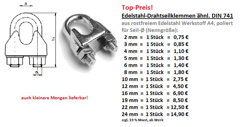 Drahtseilklemmen, Edelstahl-Drahtseilklemmen, DIN 741, DIN 1142