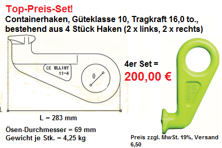 Containerhaken Angebot-Set