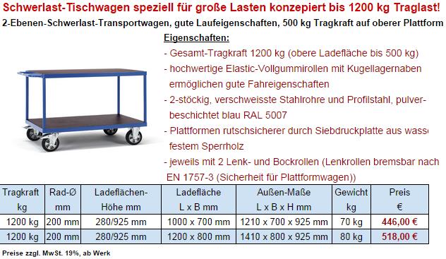 leichter tischwagen 3 etagen 300kg
